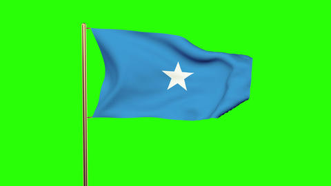 Somalia Flag Waving In The Wind. Green Screen, Alpha Matte. Loopable Animation stock footage