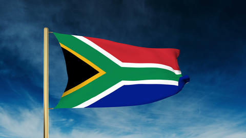 South Africa flag slider style. Waving in the wind with cloud background animati Animation