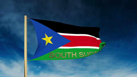 South Sudan flag slider style with title. Waving in the wind with cloud backgrou Animation