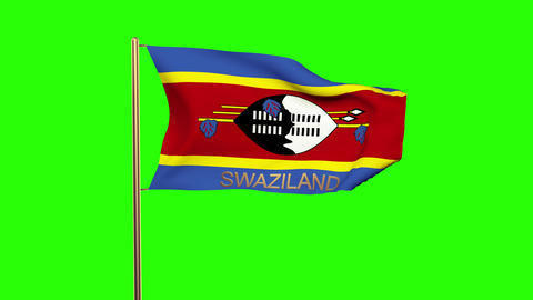 Swaziland flag with title waving in the wind. Looping sun rises style. Animation Animation
