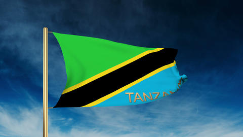 Tanzania flag slider style with title. Waving in the wind with cloud background  Animation