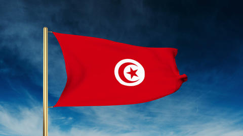 Tunisia flag slider style. Waving in the wind with cloud background animation Animation