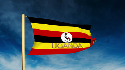 Uganda flag slider style with title. Waving in the wind with cloud background an Animation