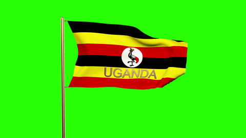 Uganda flag with title waving in the wind. Looping sun rises style. Animation lo Animation