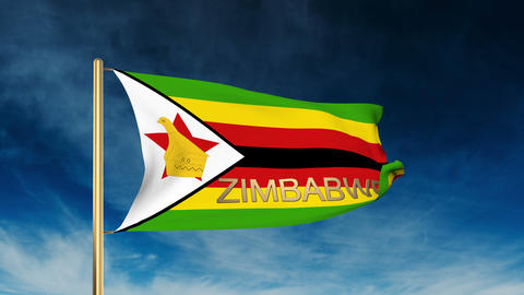 Zimbabwe flag slider style with title. Waving in the wind with cloud background  CG動画