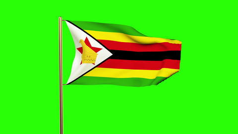 Zimbabwe flag waving in the wind. Green screen, alpha matte. Loopable animation Animation