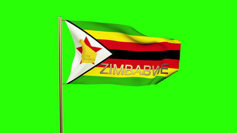 Zimbabwe flag with title waving in the wind. Looping sun rises style. Animation  Animation