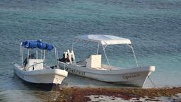 fishing boats beautiful caribbean water Footage