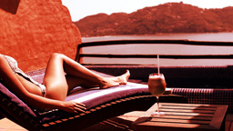 bikini model sunbed with cocktail Footage