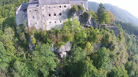 Old Castle From Middle Age In Austria. Aerial View Up To The Top stock footage