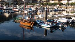 muros galicia sunrise timelapse boats spain coast harbour Footage