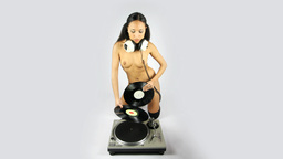 naked dj music disco female audio turntable Footage