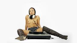 naked dj music disco female audio turntable Footage