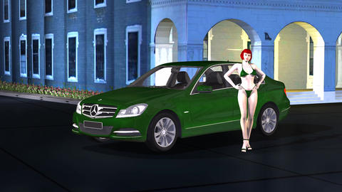 Car Mercedes With Beauty Girl Model Pose And Catwalk On Old Building stock footage