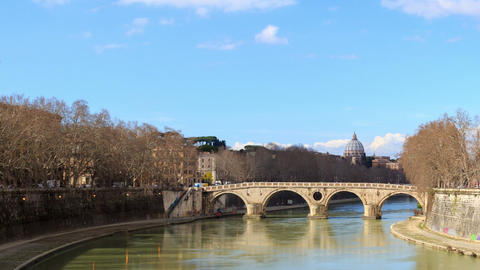 Bridge over the Tiber, Sisto. Rome, Italy. Time Lapse. 1280x720 Footage