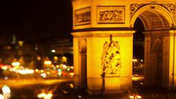 arc du triomphe at night, paris france Footage