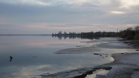 View Of Spaso-Yakovlevsky Monastery From Nero's Lake stock footage