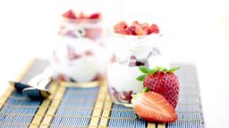 Strawberries desert with cream Footage