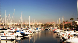 barcelona port olympic harbour boats 4k Footage
