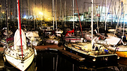 barcelona port vell harbour boats 4k night Footage