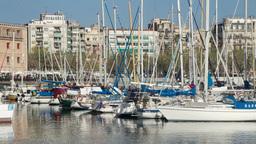 barcelona port vell harbour boats 4k Footage