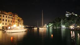 portofino harbour at night, italy Footage
