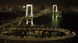 tokyo japan city rainbow bridge skyline harbour Footage