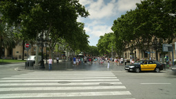 las ramblas barcelona urban street crossing Footage
