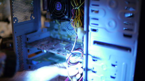 Fixing Computer Innards 03 Stock Video Footage