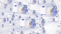 20 EURO bill flying Stock Video Footage