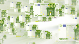 100 EURO bill flying Stock Video Footage