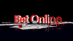 Bet Online text with casino chips and cards falling,Alpha Channel Animation
