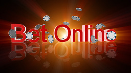 Bet Online text with casino chips falling,shine,Alpha... Stock Video Footage