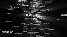 Nutrition words forming silhouette running Stock Video Footage