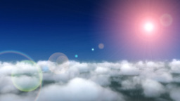 Clouds camera fly through with flare Stock Video Footage
