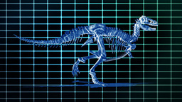 Dino T-Rex walking EKG background,loop Stock Video Footage