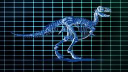 Dino T-Rex walking EKG background,loop Stock Video Footage