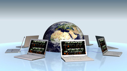 Earth and laptops with random numbers on screen Stock Video Footage