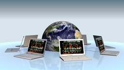 Earth and laptops with random numbers on screen Animation
