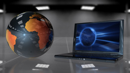 Earth Globe rotating and laptop opening Animation