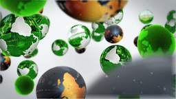 Earth globes flying Stock Video Footage