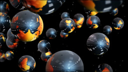 Earth globes and particles flying Animation