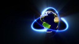 Earth planet and atoms,loop,,alpha included Stock Video Footage