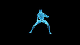Glass male musculature karate moves,Alpha Channel Stock Video Footage