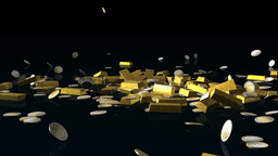 Gold bars and euro coins falling on reflective floor,Alpha Channel Animation
