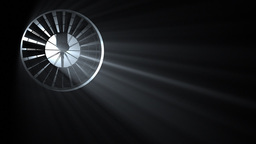 Industrial Fan with Volumetric Light, seamless loop Animation