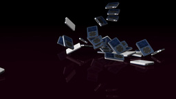 Musical mp3 player falling on reflective floor, Alpha... Stock Video Footage