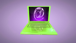 Laptop animation with internet symbol and Alpha Stock Video Footage