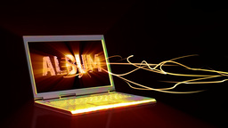 Laptop with animated musical text on the screen and light beams Animation
