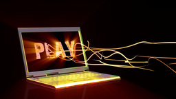 Laptop with animated musical text on the screen and light... Stock Video Footage